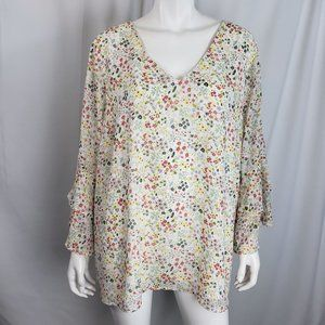 Skies Are Blue Womens Blouse Top Plus 3X White